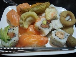 sushi, tempura, dumplings, calamari