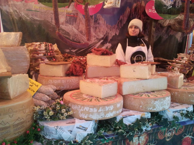 Italian Cheese at Christmas Market 2013 near Cathedral of Milan (Duomo Milano)