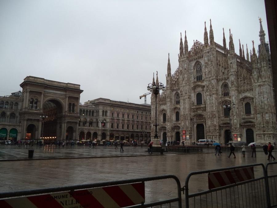 Milan during rainy day