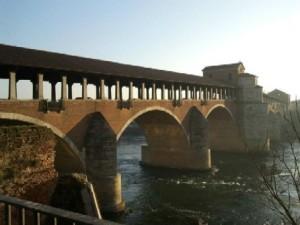 Ponte Vecchio di Pavia in Autumn (old bridge called as Ponte Coperto)