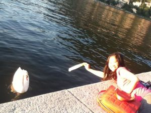 It's me trying to feed the Swan (but I guess he/she didn't really want it LOL)