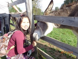 With a very sweet donkey :)