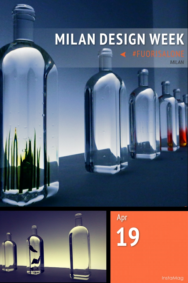 Series of bottles displaying how the rain falls to the earth