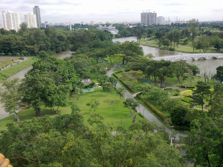 The view of Chinese and Japanese Garden from the top of a temple