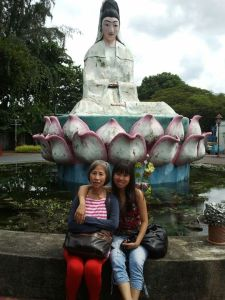 Pic with my mom in front of Guan Yin Statue
