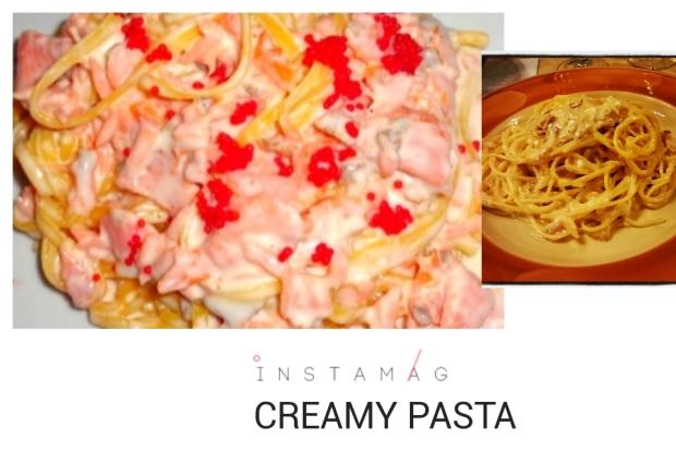 pasta with panna, salmon plus caviar and pasta carbonara